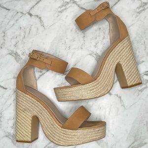 Kookai Light Tan Leather Kate Espadrilles Heels 40